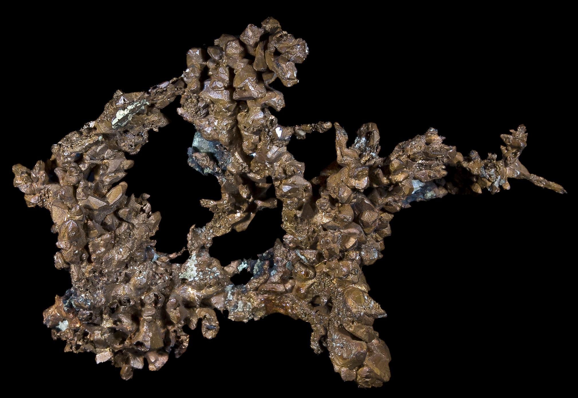 Кристаллы самородной меди, Верхнее озеро, округ Кинави, Мичиган, США. Размер 12 х 8,5 см